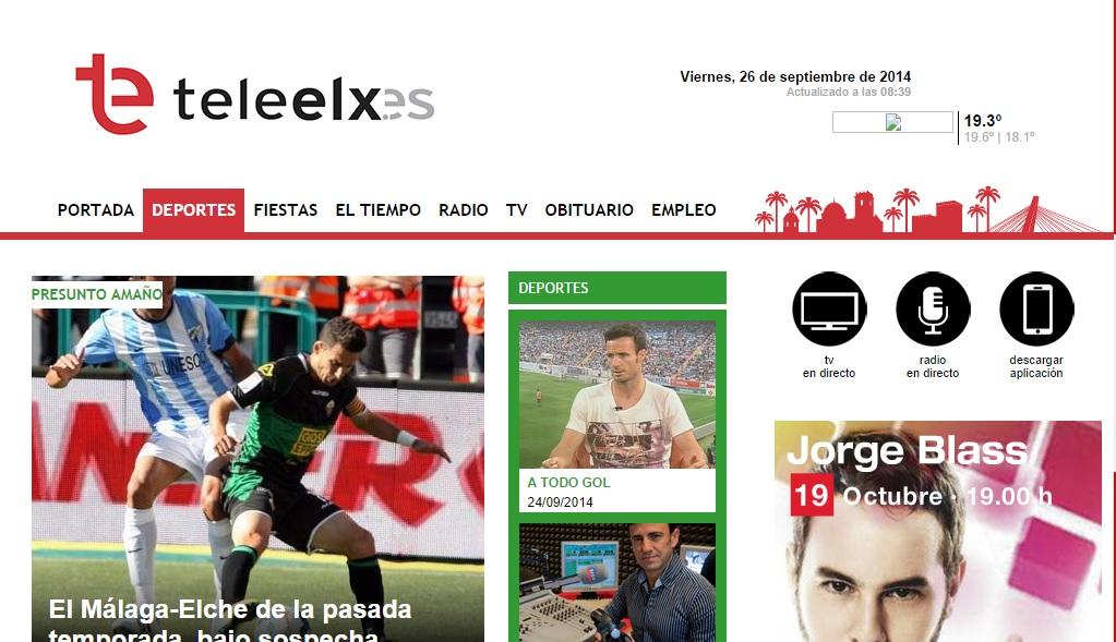 Imagen de la nueva web: www.teleelx.es